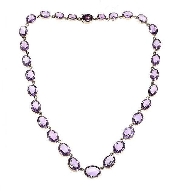 EDWARDIAN 830 SILVER AMETHYST-SET RIVIERE NECKLACE at Ross's Online Art Auctions
