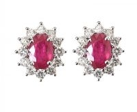 18CT WHITE GOLD RUBY AND DIAMOND EARRINGS at Ross's Online Art Auctions