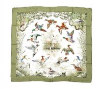 HERMES 'HALTE EN CAMARGUE' SILK SCARF WITH PRESENTATION BOX at Ross's Auctions