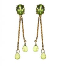 18CT GOLD DROP EARRINGS SET WITH PERIDOT at Ross's Jewellery Auctions