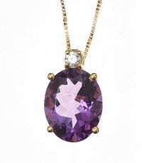 18CT ROSE GOLD AMETHYST AND DIAMOND PENDANT AND CHAIN at Ross's Jewellery Auctions