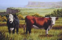 CATTLE ON THE ANTRIM COAST by Keith Glasgow at Ross's Auctions