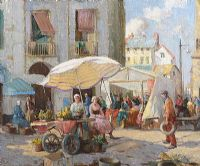 THE QUAY MARKET, DIEPPE by William Lee Hankey RWS RI at Ross's Auctions