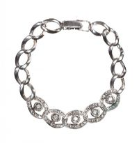 9CT WHITE GOLD DIAMOND CURB-LINK BRACELET at Ross's Jewellery Auctions