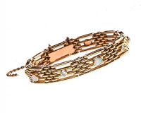 15CT GOLD GATE-LINK BRACELET SET WITH OPAL AND DIAMOND at Ross's Jewellery Auctions