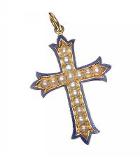 9CT GOLD CROSS PENDANT SET WITH SPLIT PEARLS AND ENAMEL at Ross's Jewellery Auctions