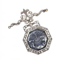 VICTORIAN WHITE GOLD PENDANT SET WITH MOONSTONE AND DIAMOND at Ross's Jewellery Auctions