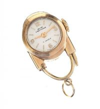 9CT GOLD 'CRAFTSMAN' NURSE'S FOB WATCH OF PADLOCK DESIGN at Ross's Jewellery Auctions