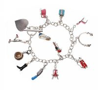 STERLING SILVER CHARM BRACELET WITH ENAMEL CHARMS at Ross's Jewellery Auctions