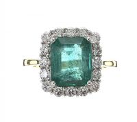 18CT WHITE GOLD EMERALD AND DIAMOND RING at Ross's Jewellery Auctions