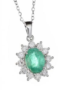 18CT WHITE GOLD EMERALD AND DIAMOND NECKLACE at Ross's Jewellery Auctions