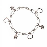 STERLING SILVER HEART AND STAR CHARM BRACELET at Ross's Jewellery Auctions