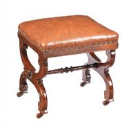 VICTORIAN MAHOGANY 'X' FRAME STOOL at Ross's Auctions