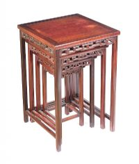 ANTIQUE CHINESE CHERRYWOOD NEST OF FOUR TABLES at Ross's Auctions