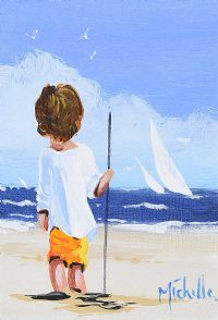 BOY ON THE BEACH by Michelle Carlin at Ross's Auctions