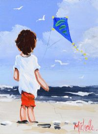 YOUNG BOY WITH KITE by Michelle Carlin at Ross's Auctions