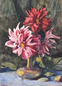 STILL LIFE, DAHLIAS by William Conor RHA RUA at Ross's Auctions