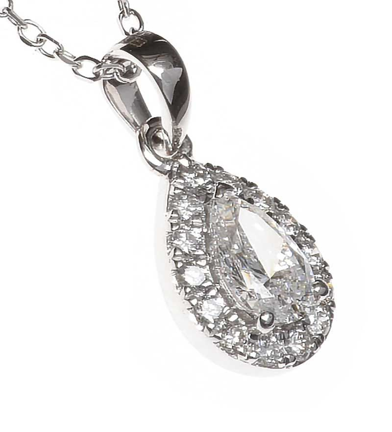 18CT WHITE GOLD DIAMOND NECKLACE at Ross's Online Art Auctions