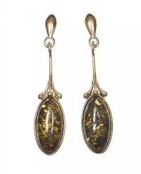 9CT GOLD BALTIC AMBER EARRINGS at Ross's Jewellery Auctions