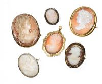 SIX ASSORTED CAMEO BROOCHES at Ross's Auctions
