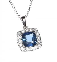 18CT WHITE GOLD SAPPHIRE AND DIAMOND NECKLACE at Ross's Auctions