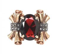 1940'S 14CT ROSE GOLD GARNET AND DIAMOND RING at Ross's Jewellery Auctions