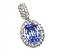 18CT WHITE GOLD TANZANITE AND DIAMOND PENDANT at Ross's Jewellery Auctions