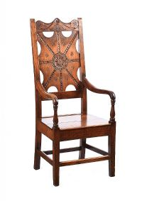 NINTEENTH CENTURY CARVED OAK THRONE CHAIR at Ross's Auctions