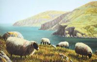SHEEP ON THE ANTRIM COAST by Keith Glasgow at Ross's Auctions
