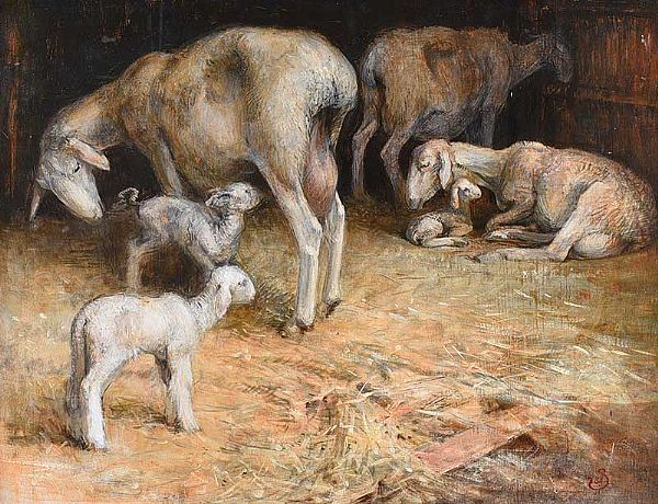 SHEEP & LAMBS IN A BARN by Anne Shingleton at Ross's Online Art Auctions