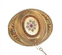 VICTORIAN GOLD SEED PEARL AND GARNET BROOCH at Ross's Jewellery Auctions
