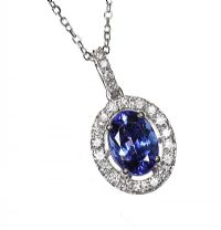 18CT WHITE GOLD TANZANITE AND DIAMOND NECKLACE at Ross's Jewellery Auctions
