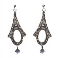 SILVER MOONSTONE EARRINGS at Ross's Jewellery Auctions