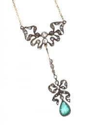 9CT GOLD EMERALD AND DIAMOND NECKLACE at Ross's Online Art Auctions