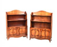 PAIR OF MAHOGANY FIGURED OPEN BOOKCASES at Ross's Auctions