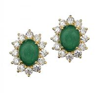 18CT GOLD EMERALD AND DIAMOND EARRINGS at Ross's Jewellery Auctions