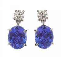 18CT WHTIE GOLD TANZANITE AND DIAMOND EARRINGS at Ross's Jewellery Auctions