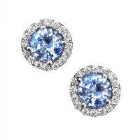 18CT WHITE GOLD SAPPHIRE AND DIAMOND EARRINGS at Ross's Jewellery Auctions