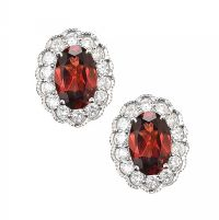 18CT WHITE GOLD GARNET AND DIAMOND EARRINGS at Ross's Jewellery Auctions