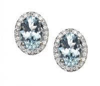 18CT GOLD AQUAMARINE AND DIAMOND EARRINGS at Ross's Jewellery Auctions