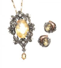 ANTIQUE CITRINE, PEARL AND MARCASITE PENDANT ON 9CT GOLD CHAIN WITH MATCHING GOLD AND SILVER EARRINGS at Ross's Jewellery Auctions