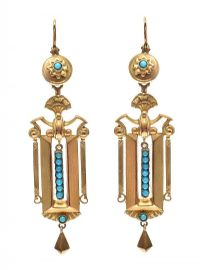 ANTIQUE GOLD TURQUOISE-SET EARRINGS at Ross's Jewellery Auctions