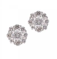 14CT WHITE GOLD DIAMOND FLORAL EARRINGS at Ross's Jewellery Auctions