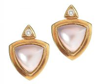 MABE PEARL AND DIAMOND EARRINGS at Ross's Jewellery Auctions