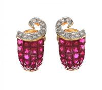 18CT GOLD RUBY AND DIAMOND EARRINGS at Ross's Jewellery Auctions
