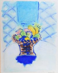 STILL LIFE, FRUIT DISH IN BLUE by Neil Shawcross RHA RUA at Ross's Auctions
