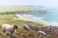 SHEEP ABOVE WHITEPARK BAY, COUNTY ANTRIM by Keith Glasgow at Ross's Auctions
