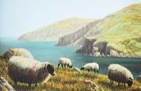 SHEEP ABOVE MURLOUGH BAY, COUNTY ANTRIM by Keith Glasgow at Ross's Auctions