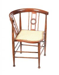 EDWARDIAN INLAID MAHOGANY CORNER CHAIR at Ross's Auctions