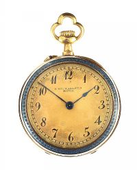 18CT GOLD ENAMEL POCKET WATCH at Ross's Jewellery Auctions
